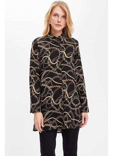 DeFacto Zincir Desenli Uzun Kollu Gömlek Tunik Siyah